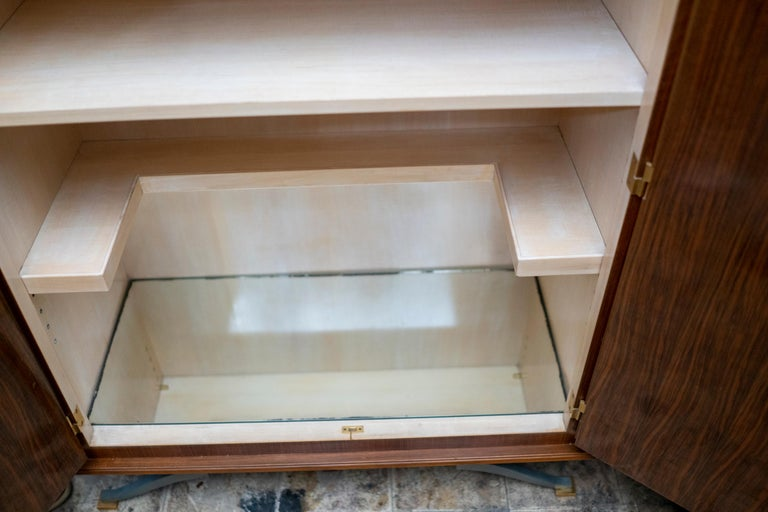 Elegant Art Deco Sycamore Marquetry Cabinet by Jules Leleu For Sale 7