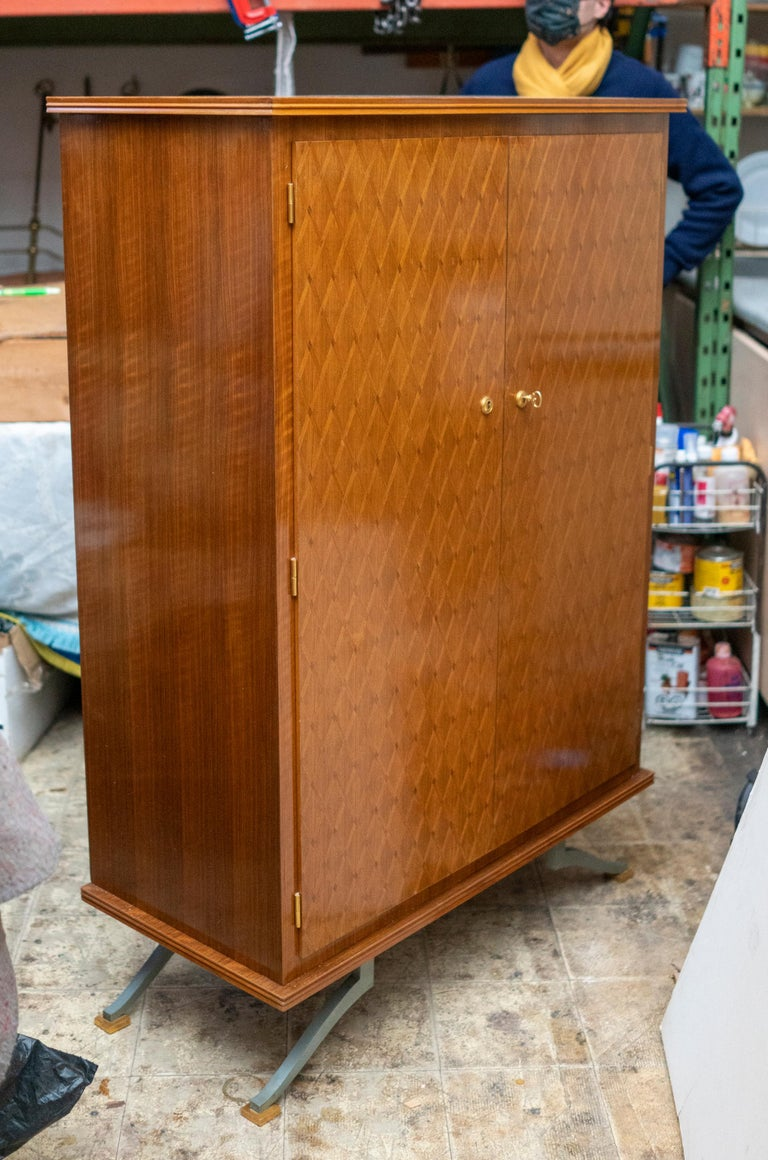 Mid-20th Century Elegant Art Deco Sycamore Marquetry Cabinet by Jules Leleu For Sale