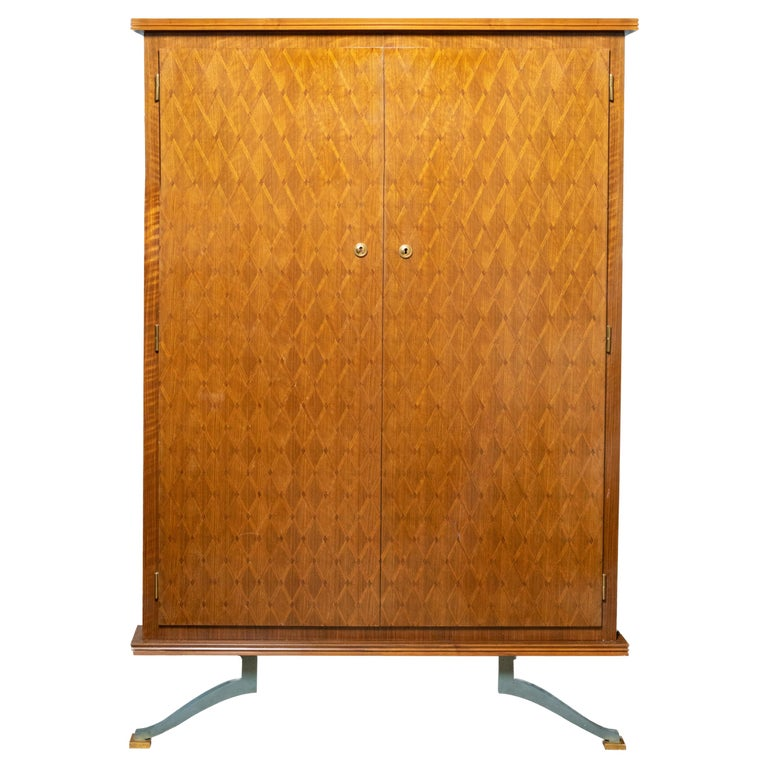 Elegant Art Deco Sycamore Marquetry Cabinet by Jules Leleu For Sale