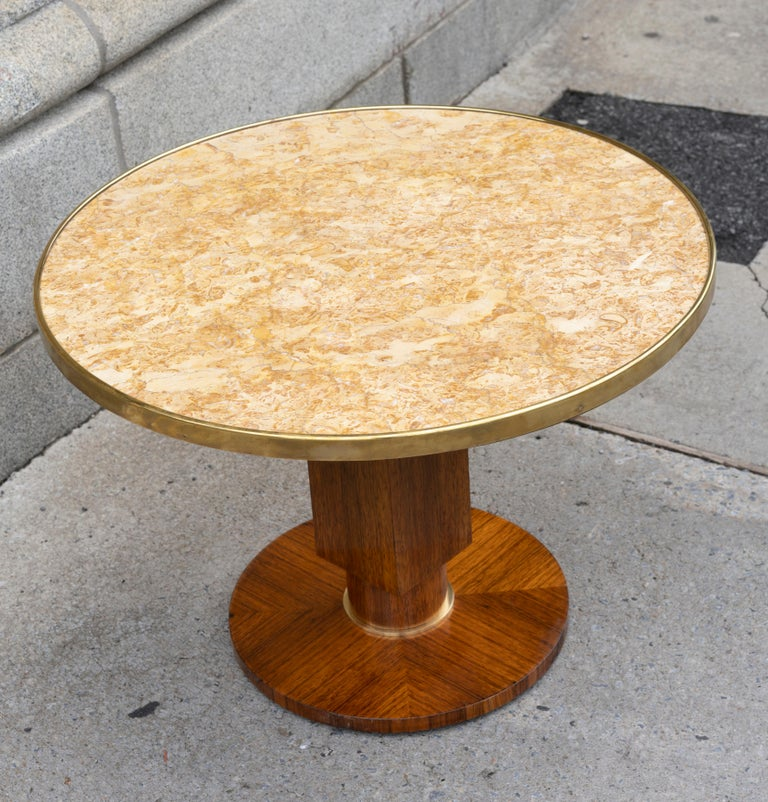 Mid-20th Century Elegant Art Deco Walnut Gueridon by Jules Leleu For Sale
