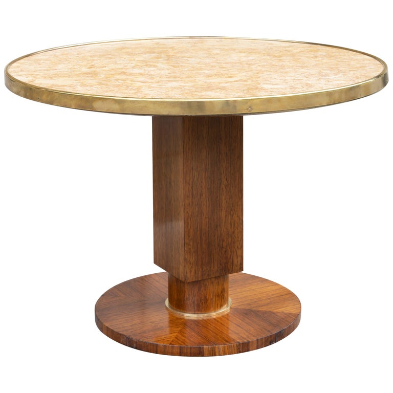 Elegant Art Deco Walnut Gueridon by Jules Leleu For Sale
