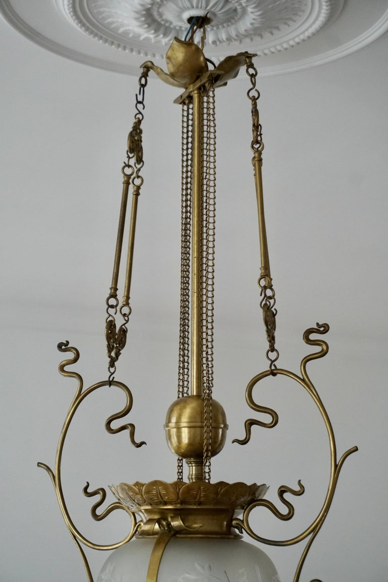 Elegant Art Nouveau Pendant Light in Brass and Glass For Sale 12