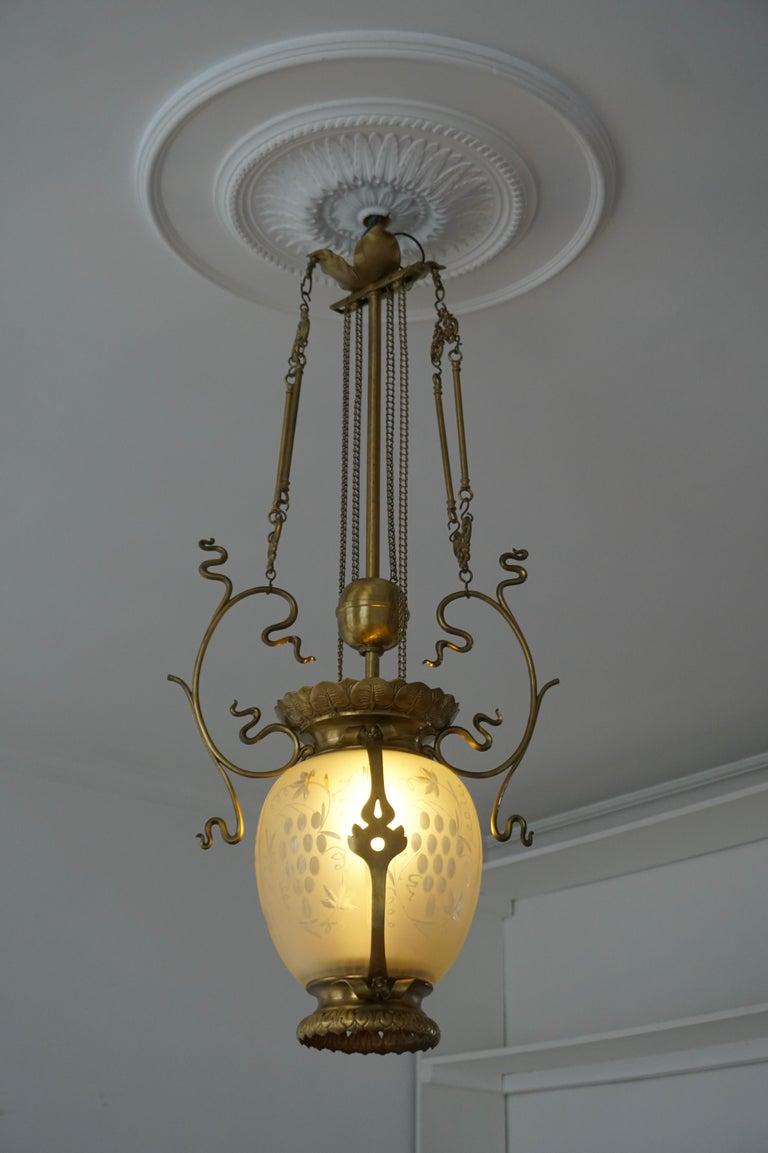 Belgian Elegant Art Nouveau Pendant Light in Brass and Glass For Sale