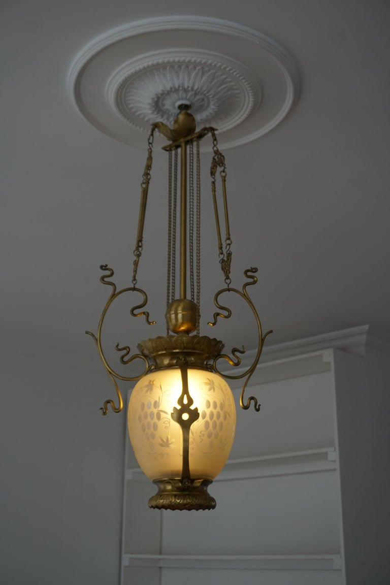 Elegant Art Nouveau Pendant Light in Brass and Glass For Sale 2