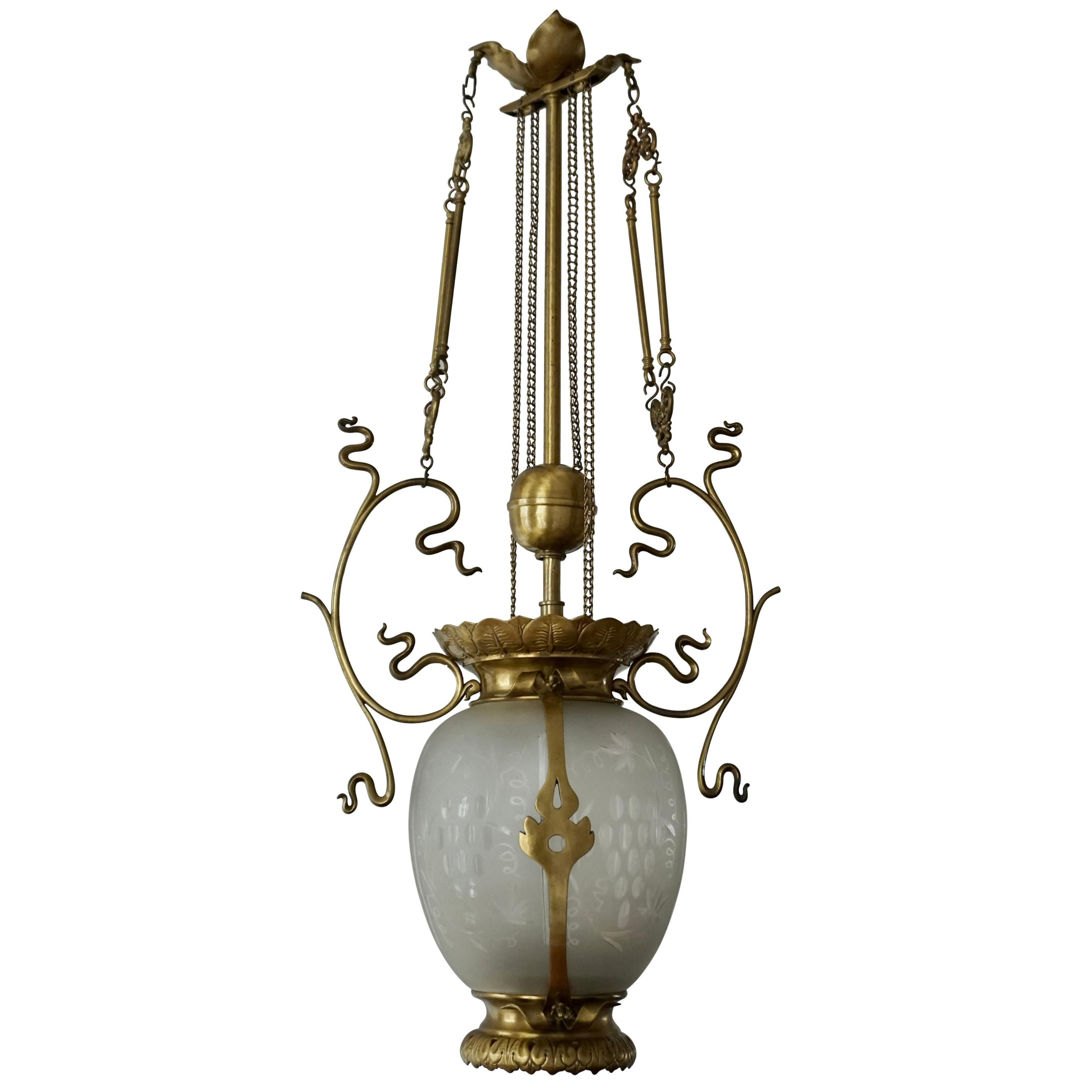 Elegant Art Nouveau Pendant Light in Brass and Glass