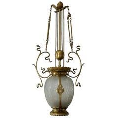 Elegant Art Nouveau Pendant Light in Brass and Glass