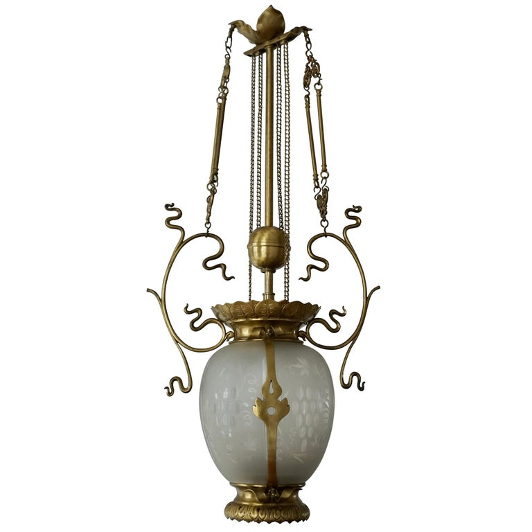 Elegant Art Nouveau Pendant Light in Brass and Glass For Sale