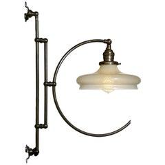Elegant Articulated Vaseline Glass Hoop Light