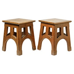 Elegant Arts & Crafts Pair of Stools circa 1900 Church Design