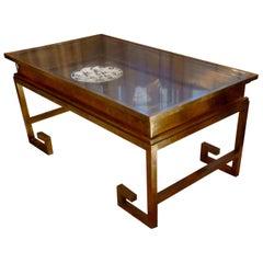 Elegant Asian Inspired Brass Display Table by Maison Jansen, France, 1960