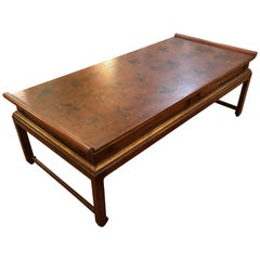 Elegant Asian Style Wood and Gilded Coffee Table