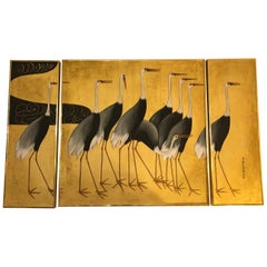 Elegant Asian Triptych of Herons in Gold and Black