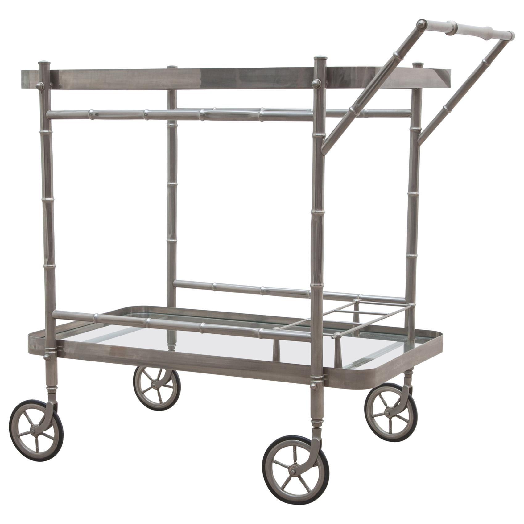 Elegant Bar Cart Faux Bamboo Designed in Chrome by Maison Baguès, 1940s