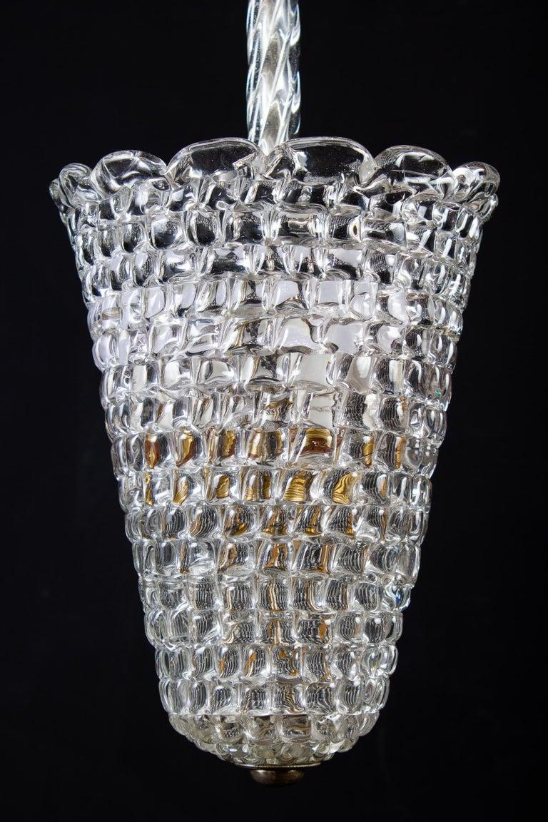 Amazing Barovier hand blown glass pendant lantern, 1930s. Three E 14 light bulbs.