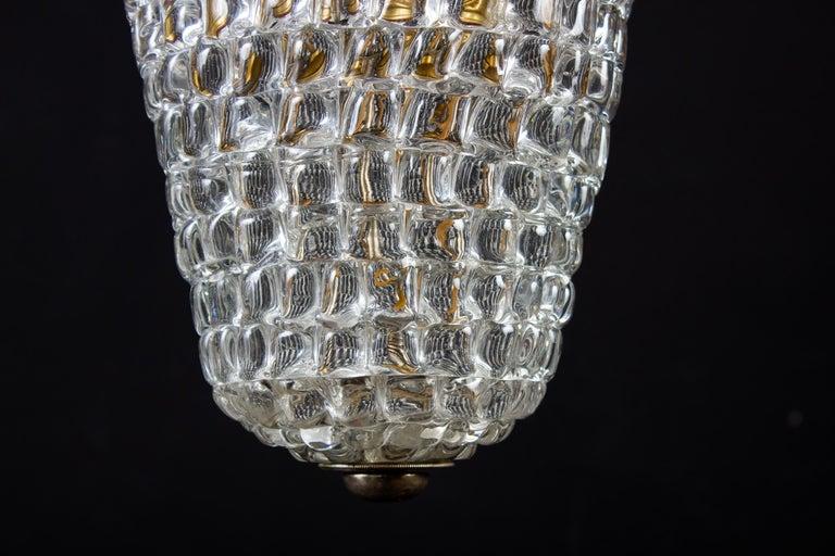 Art Deco Elegant Barovier Hand Blown Glass Pendant Lantern, 1930s For Sale