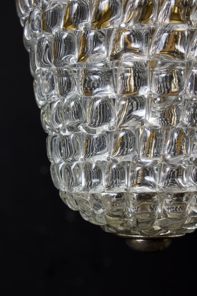 20th Century Elegant Barovier Hand Blown Glass Pendant Lantern, 1930s For Sale