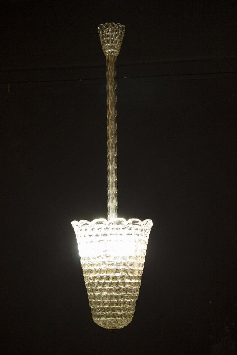 Elegant Barovier Hand Blown Glass Pendant Lantern, 1930s For Sale 2