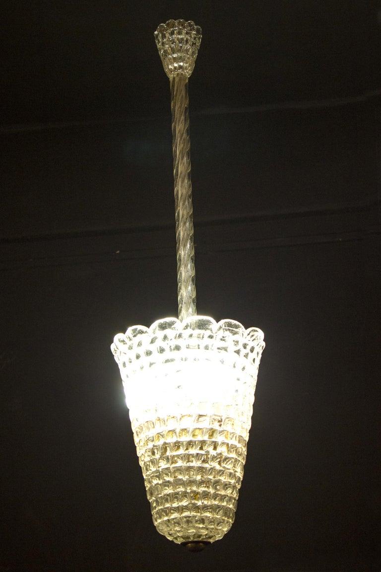 Elegant Barovier Hand Blown Glass Pendant Lantern, 1930s For Sale 3