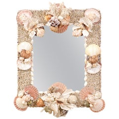 Elegant Beach-Themed Sea Shell and Coral Wall Mirror