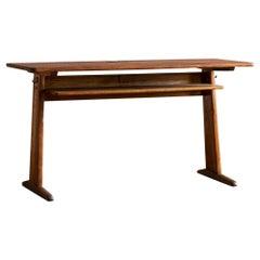 Elegant Belgian Oak Student Desk, 1950s