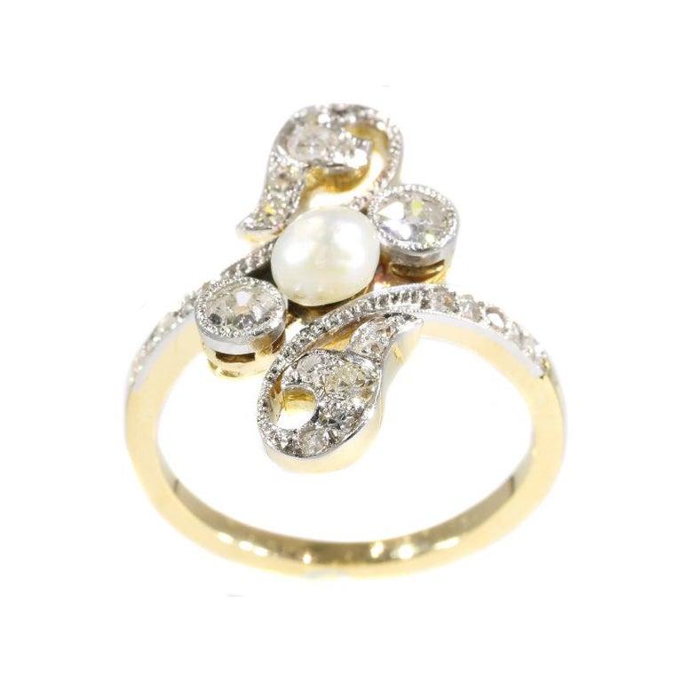 Diamond And Pearl Engagement Rings: Elegant Belle Époque Diamond And Pearl Engagement Ring For