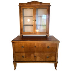 SALE Biedermeier Cherrywood Chest Commode with Vitrine Display, circa 1825