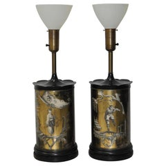 Elegant Black and Gold Vere Églomisé Asian Inspired Table Lamps, circa 1950