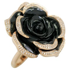 Elegant Black Onyx Diamond Yellow Gold Flower Statement Ring