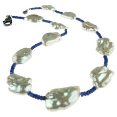 Elegant Blue Sapphire and White Pearl Choker Necklace