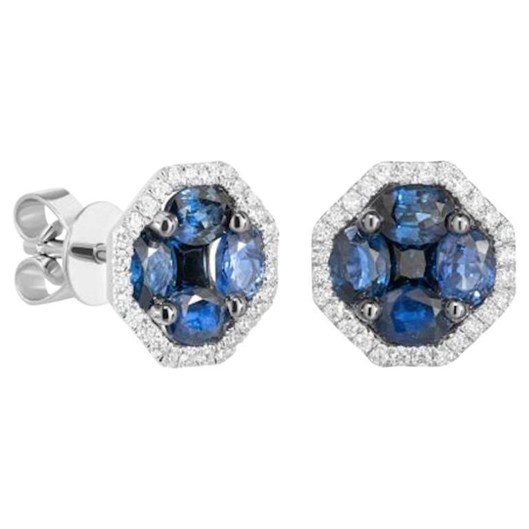 Elegant Blue Sapphire Diamond White Gold Stud Earrings for Her
