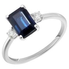 Elegant Blue Sapphire White Diamond White Gold Ring for Her