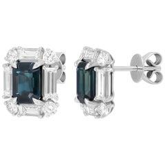 Elegant Blue Sapphire White Diamond White Gold Stud Earrings for Her