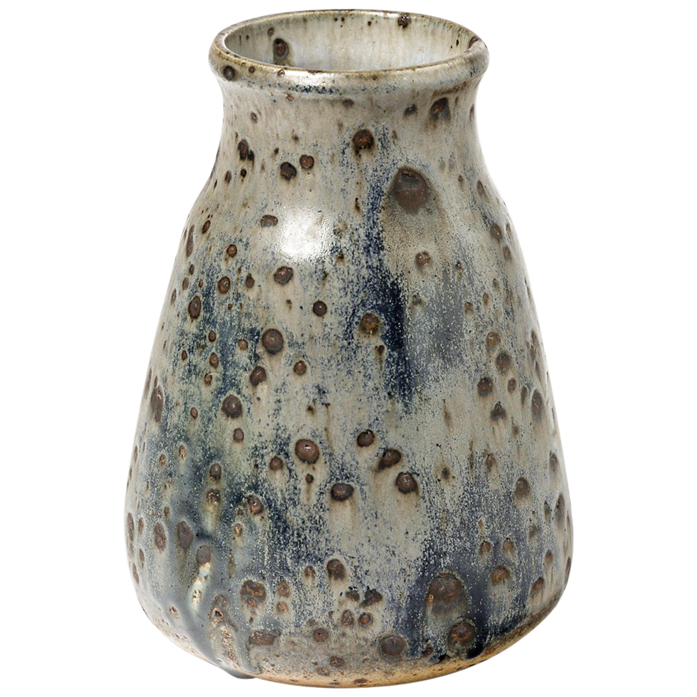Elegant Blue Stoneware Ceramic Vase by Isambert circa 1970 La Borne Decoration