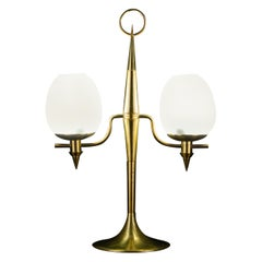Elegant Brass and Opaline Murano Glass Table Lamp Attributed to Gio Ponti
