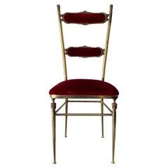 Elegant Brass Chair by Chiavari, Italy, circa 1950s