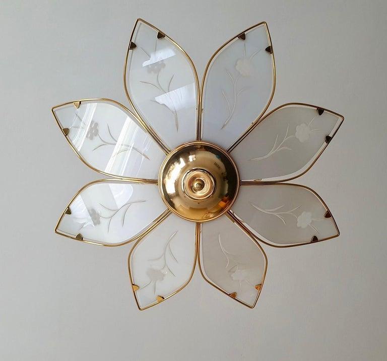 Italian Elegant Brass Chandelier with White Murano Glass Leaves For Sale