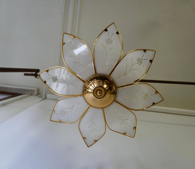 Elegant Brass Chandelier with White Murano Glass Leaves For Sale 3