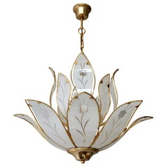 Elegant Brass Chandelier with White Murano Glass Leaves