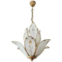 Elegant Brass Chandelier with White Murano Glass Leaves