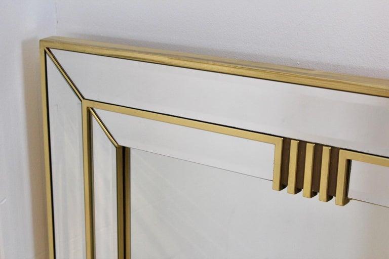 Mid-Century Modern Elegant Brass Graphical Mirror by Deknudt Belgium For Sale