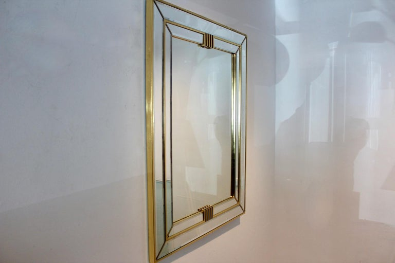 Belgian Elegant Brass Graphical Mirror by Deknudt Belgium For Sale