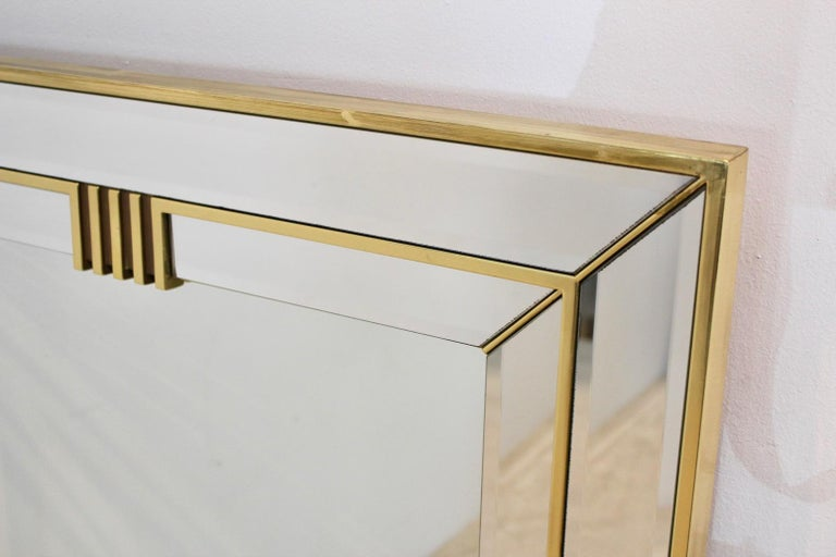 20th Century Elegant Brass Graphical Mirror by Deknudt Belgium For Sale