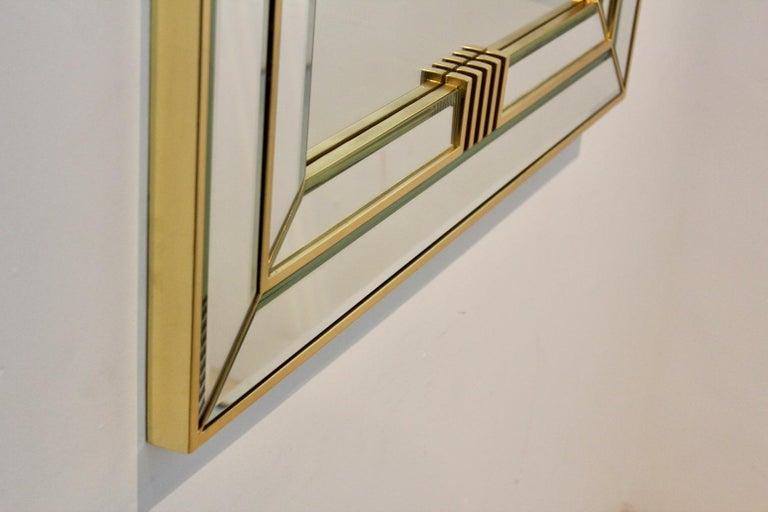 Elegant Brass Graphical Mirror by Deknudt Belgium For Sale 1