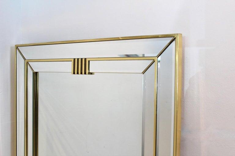 Elegant Brass Graphical Mirror by Deknudt Belgium For Sale 2