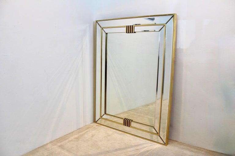 Elegant Brass Graphical Mirror by Deknudt Belgium For Sale 3
