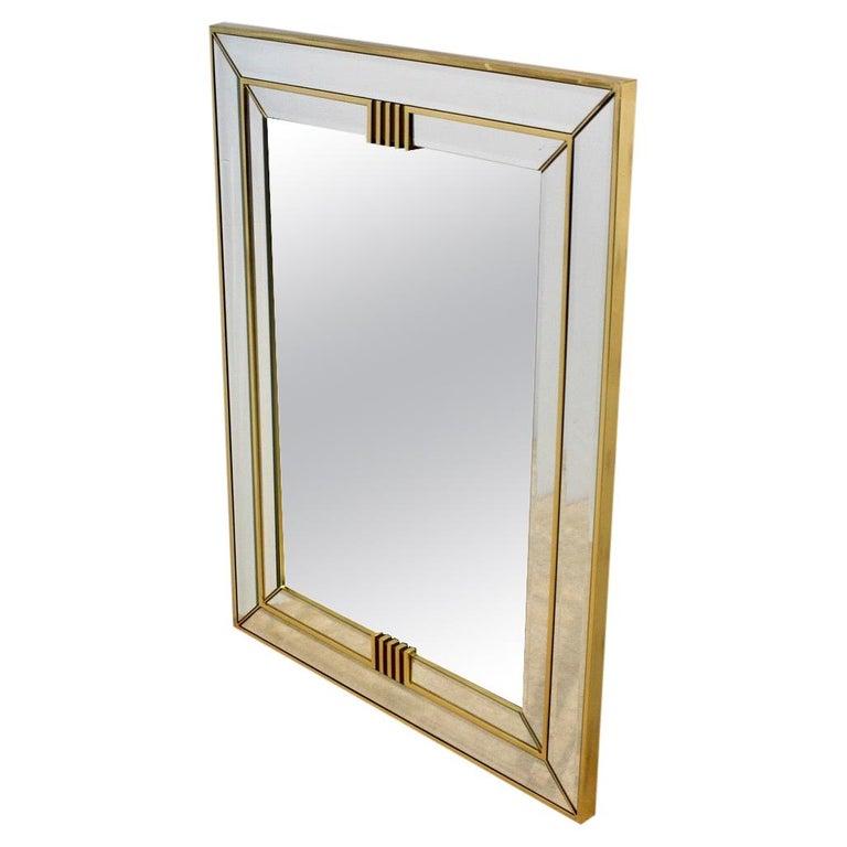 Elegant Brass Graphical Mirror by Deknudt Belgium For Sale