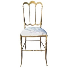 Elegant Brass Italian Side, Vanity or Ballroom Chair by Chiavari