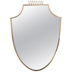 Eleganter Messing Spiegel, Italien, circa 1950