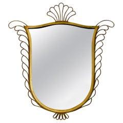 Elegant Brass Mirror in the Style of Gio Ponti