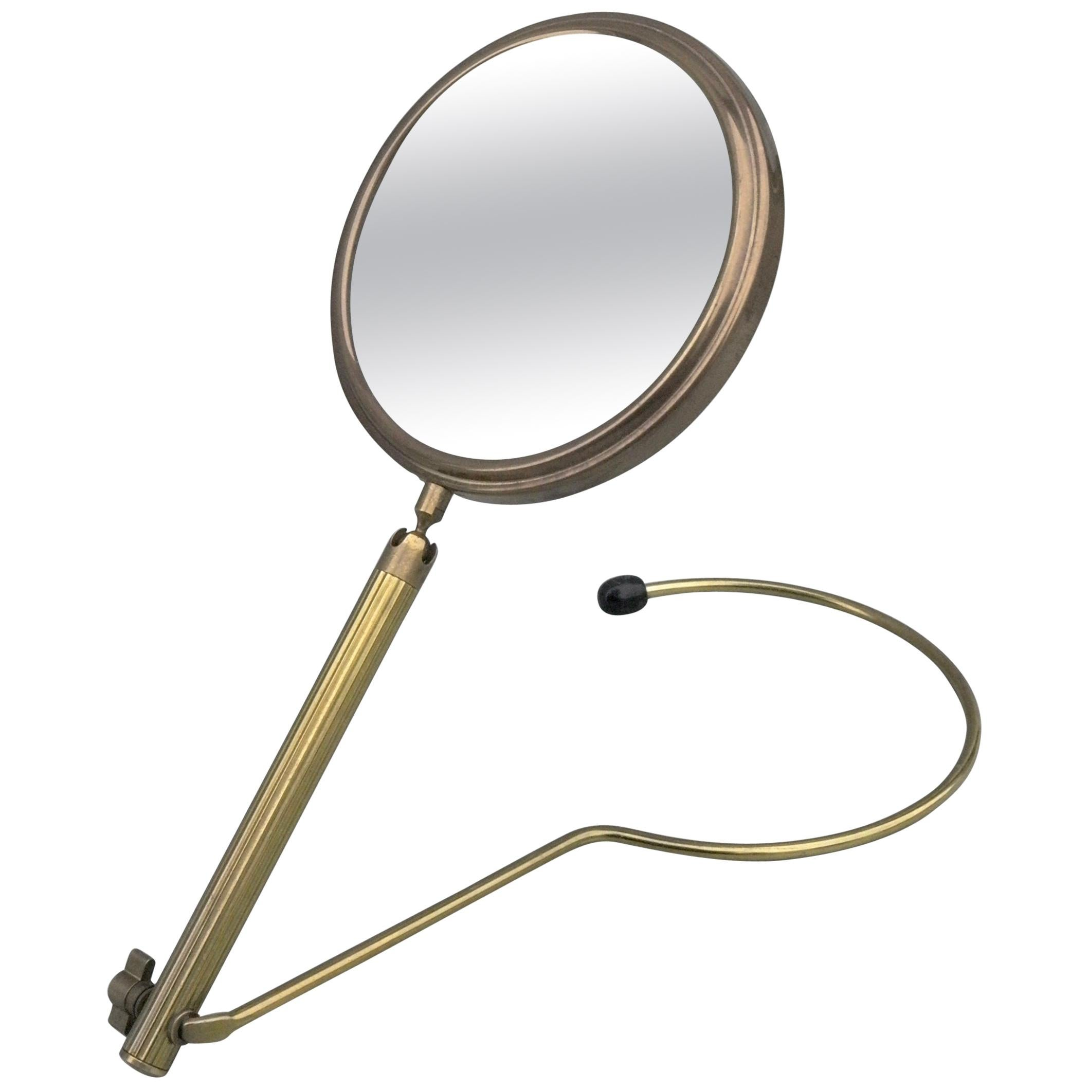 Elegant Brass Wall or Table Make Up Vanity Mirror, France, 1950s